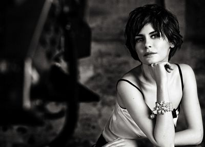 women, actress, models, Audrey Tautou, Coco Chanel, monochrome, greyscale - random desktop wallpaper