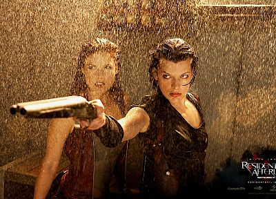 movies, rain, actress, Resident Evil, Milla Jovovich, Resident Evil Afterlife - random desktop wallpaper