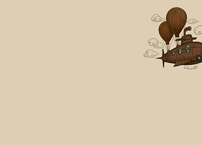 clouds, minimalistic, steampunk, octopuses, balloons, reversed reality, u-boat - related desktop wallpaper