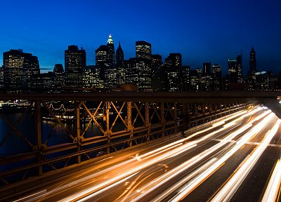 lights, bridges, buildings, New York City, Manhattan, skyscrapers, long exposure - related desktop wallpaper