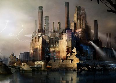 lights, buildings, concept art, Asylum, Daniel Dociu - desktop wallpaper