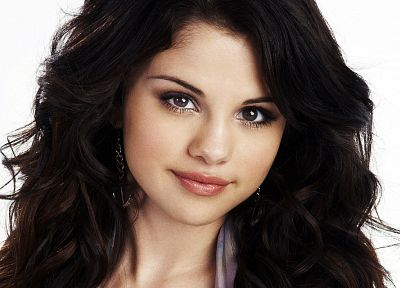 brunettes, women, Selena Gomez, celebrity, faces, white background - desktop wallpaper