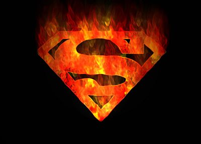 DC Comics, Superman, fire, Superman Logo, black background - related desktop wallpaper