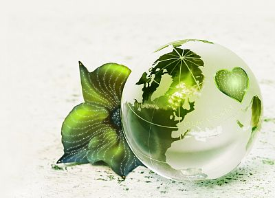 green, leaf, Earth, globes, white background - desktop wallpaper