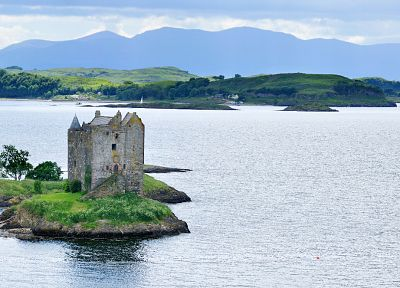 water, panorama, Castle Stalker - desktop wallpaper