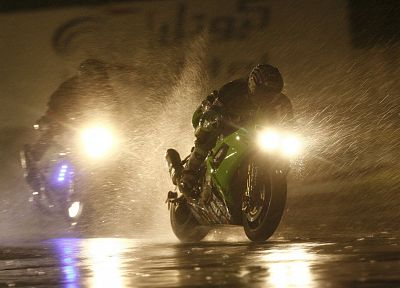 dark, night, rain, motorcycles - related desktop wallpaper