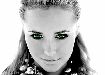 women, actress, Hayden Panettiere, celebrity, green eyes, grayscale, selective coloring, faces, white background - related desktop wallpaper
