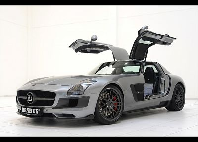 cars, Brabus, open doors, Mercedes-Benz, Mercedes-Benz SLS AMG E-Cell - random desktop wallpaper