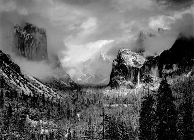 mountains, trees, grayscale - desktop wallpaper