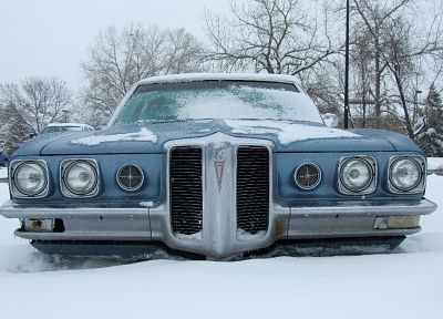 blue, winter, snow, cars, Pontiac, vehicles, Pontiac Catalina - random desktop wallpaper