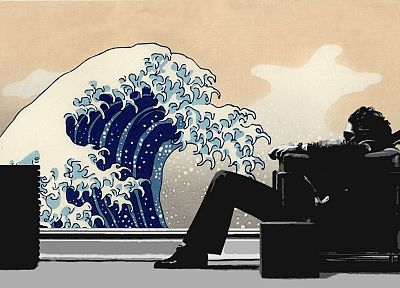 music, waves, men, Japanese, chairs, artwork, Maxell, The Great Wave off Kanagawa - related desktop wallpaper