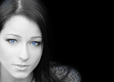 brunettes, women, blue eyes, Carrie, selective coloring, Kristina Uhrinova, black background - random desktop wallpaper