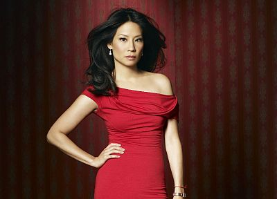 brunettes, women, actress, Lucy Liu, Asians, red dress - random desktop wallpaper