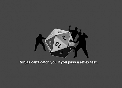ninjas, dice, ninjas cant catch you if, Dungeons and Dragons - related desktop wallpaper
