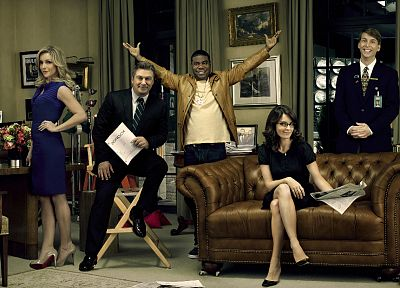 women, couch, Tina Fey, 30 Rock, Alec Baldwin, television cast - random desktop wallpaper