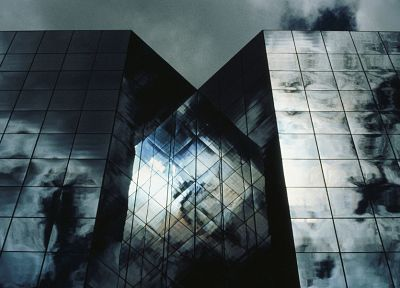 clouds, mirrors, architecture, buildings, skyscrapers, reflections - desktop wallpaper