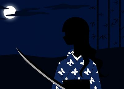 Sayonara Zetsubou Sensei, blue, clouds, dark, dress, night, katana, Moon, bamboo, long hair, outdoors, weapons, kimono, dark skin, blue dress, profile, Full Moon, Japanese clothes, anime girls, swords, bangs, wavy hair, butterflies, skies, Itoshiki Rin - desktop wallpaper
