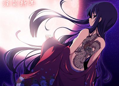 tattoos, women, stars, dragon tattoo, Moon, long hair, kimono, purple hair, purple eyes, anime girls - desktop wallpaper