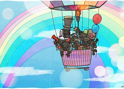 Pyro TF2, DeviantART, rainbows, Team Fortress 2, hot air balloons - random desktop wallpaper