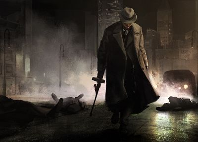 cityscapes, weapons, mafia, artwork - desktop wallpaper