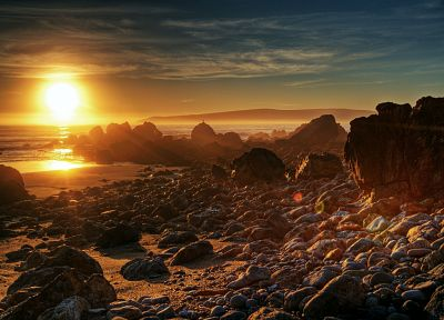 sunset, landscapes, rocks - random desktop wallpaper