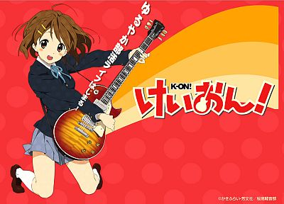 K-ON!, school uniforms, Hirasawa Yui, guitars, anime, knee socks - random desktop wallpaper