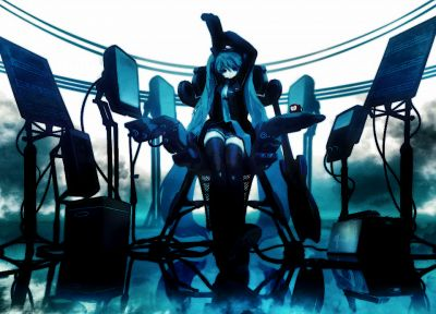 Vocaloid, Hatsune Miku, twintails, Huke - random desktop wallpaper