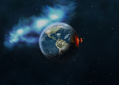 outer space, explosions, planets, Earth - related desktop wallpaper