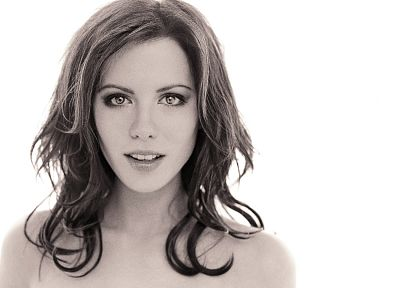women, actress, Kate Beckinsale, grayscale, monochrome, simple background, white background - related desktop wallpaper