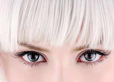 women, close-up, eyes, white hair - random desktop wallpaper