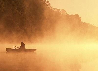 silhouettes, fog, mist, sepia, boats, fishing, monochrome - random desktop wallpaper