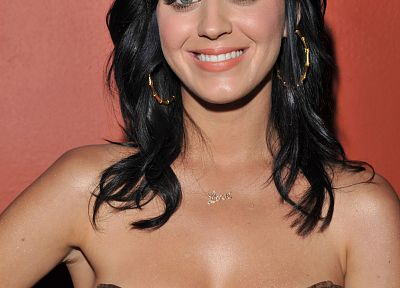 brunettes, women, Katy Perry, smiling, black hair - random desktop wallpaper