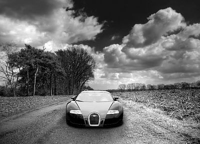 clouds, cars, Bugatti Veyron, Bugatti, monochrome, greyscale - desktop wallpaper