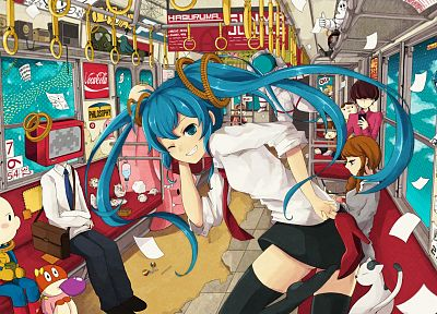 headphones, brunettes, pants, paper, Vocaloid, Hatsune Miku, birds, cats, superheroes, tie, trains, skirts, Megurine Luka, cups, long hair, radio, speakers, Kagamine Rin, blue hair, lollipops, shoes, Kagamine Len, gas masks, hamsters, Space Invaders, pink - related desktop wallpaper