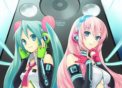 Vocaloid, gloves, Hatsune Miku, Megurine Luka, twintails - duplicate desktop wallpaper