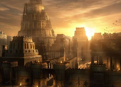 cityscapes, Prince of Persia, sunlight, artwork, Babylon, Raphael Lacoste, Prince of Persia: The Sands of Time - random desktop wallpaper