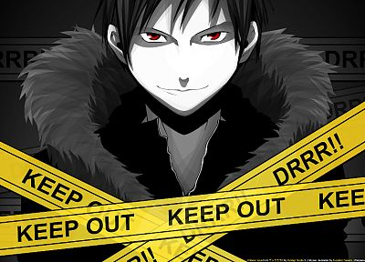Durarara!!, Orihara Izaya, anime boys, police tape - desktop wallpaper