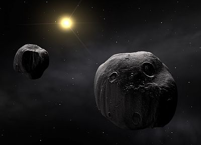outer space, asteroids - desktop wallpaper