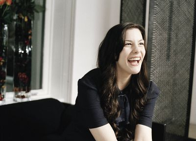 brunettes, women, dress, blue eyes, Liv Tyler, long hair, freckles, laughing - random desktop wallpaper