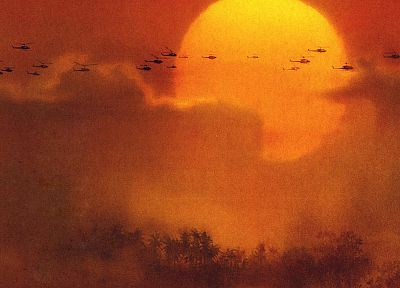 Apocalypse Now, chopper, skies, suns - desktop wallpaper