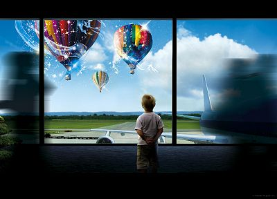 hot air balloons, photo manipulation - desktop wallpaper