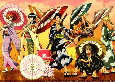 One Piece (anime), Nico Robin, kimono, Roronoa Zoro, chopper, Japanese clothes, Monkey D Luffy, Nami (One Piece), Sanji (One Piece) - related desktop wallpaper