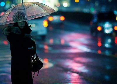 women, cityscapes, rain, outdoors, traffic lights, bokeh, umbrellas - desktop wallpaper