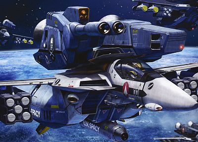 aircraft, Macross, outer space, artwork, vehicles, Roy Focker - desktop wallpaper