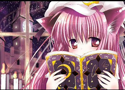 video games, Touhou, nekomimi, animal ears, Patchouli Knowledge - random desktop wallpaper