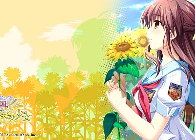 women, nature, flowers, school uniforms, anime, Sharin No Kuni Himawari No Shoujo - random desktop wallpaper