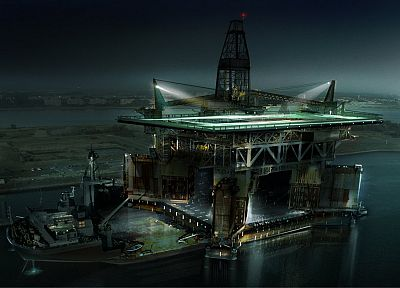 water, oil, concept art, machinery, oilrig, light beams, Philip Straub - desktop wallpaper
