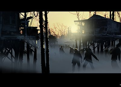 sunset, zombies, fog, Left 4 Dead - related desktop wallpaper