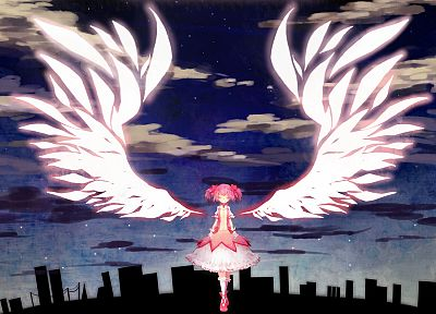 angels, wings, cityscapes, buildings, Mahou Shoujo Madoka Magica, Kaname Madoka, anime, angel wings, anime girls - desktop wallpaper