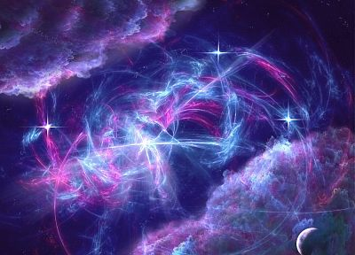 blue, clouds, outer space, stars, pink, planets, purple - related desktop wallpaper